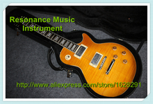 100% Real Pictures Flat LP Models Standard Guitar Tiger Flame Maple Top With Hardcase Together In Stock