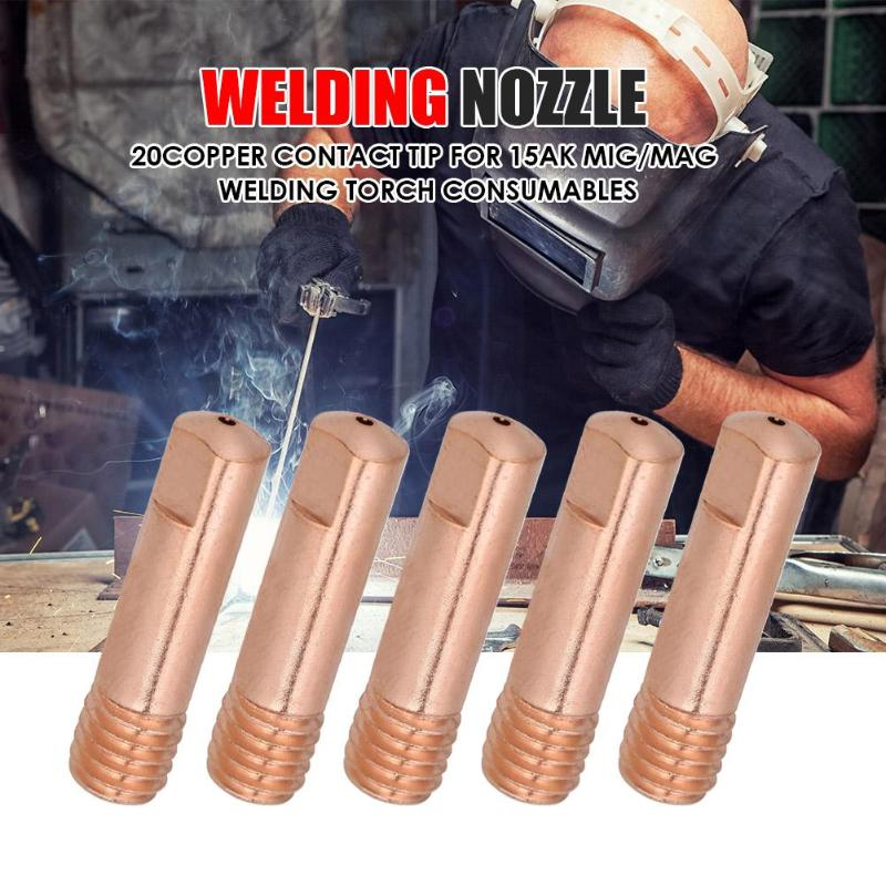 20pcs/set Semi-automatic MIG Welding Nozzle Contact Tips Gas Diffuser Connector Holder Welding Torch Contact Nozzle 0.8/1/1.2mm