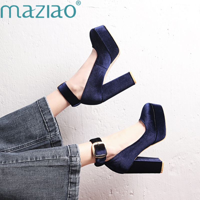New Straps Round Head Waterproof Platform High Heels Thick with A Word Buckle Sexy Wild Single Shoes Women MAZIAO