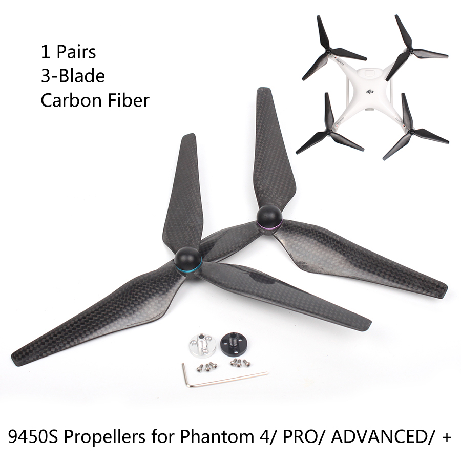 1 Pairs 9450S 3-Blade Full Carbon Fiber Propellers Self-tightening for DJI Phantom 4/ PRO/ ADVANCED/ + 4 pairs 9 9443 self tightening propeller prop for dji phantom 2 vision plus