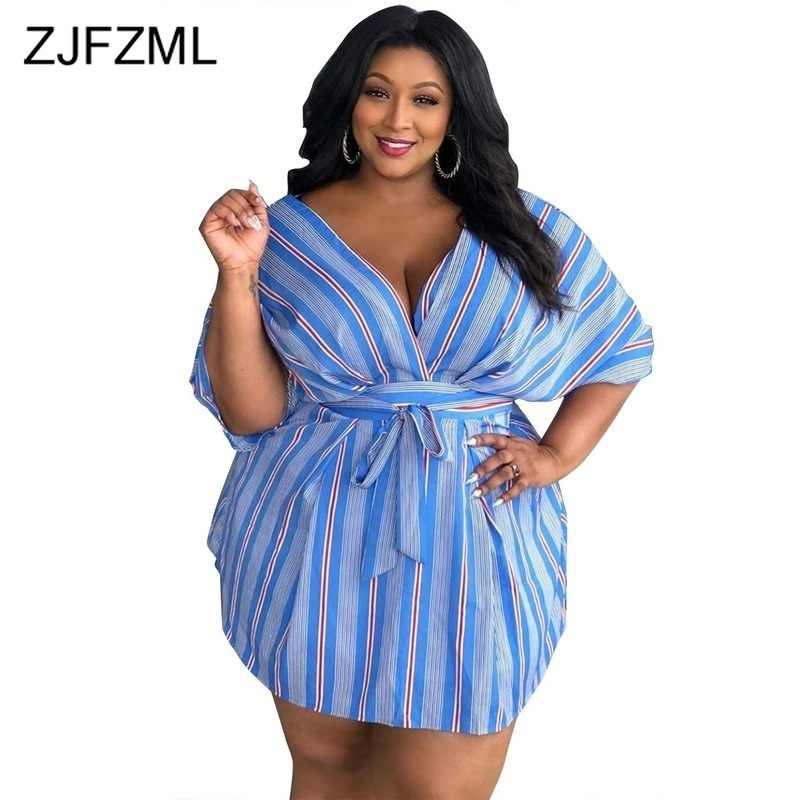 Летнее женское платье в полоску размера плюс с глубоким v-образным вырезом и рукавом средней длины, Бандажное платье, повседневное мини-платье с высокой талией и поясом