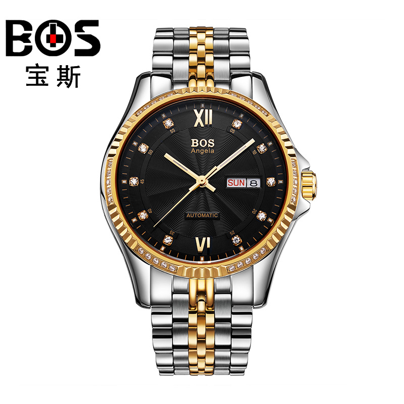 ANGELA BOS Famous Luxury Brand Automatic Watch Mens Mechanical Gold Stainless Steel Calendar Date Waterproof Wrist Watches Men original binger mans automatic mechanical wrist watch date display watch self wind steel with gold wheel watches new luxury
