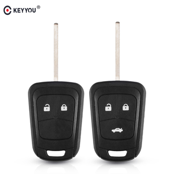 KEYYOU 50Pcs Replacement Car Remote Key Case For Chevrolet AVEO Cruze For Opel Camaro Sonic Key Shell 2/3 Button Fob HU100 Blade