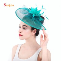 Lines Hats for Women Elegant Feathers Tulle Bridal Hats Women's Wedding Hair Accessories gelin tac aksesuarlar H44