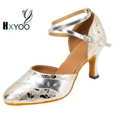 HXYOO New Arrival Women Latin Salsa Shoes Lady Ballroom Tango Dance Shoes Silver Color 5 Kinds of Heels WK046
