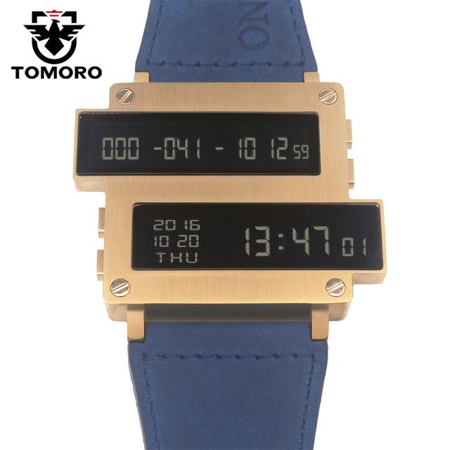 Tomoro 2017 nuevo diseño original de una serie de la vida superior de los hombres Horas de cuenta atrás LLEVÓ el Reloj 316 T Caja de Acero de Cuero de Vaca Limitado relojes