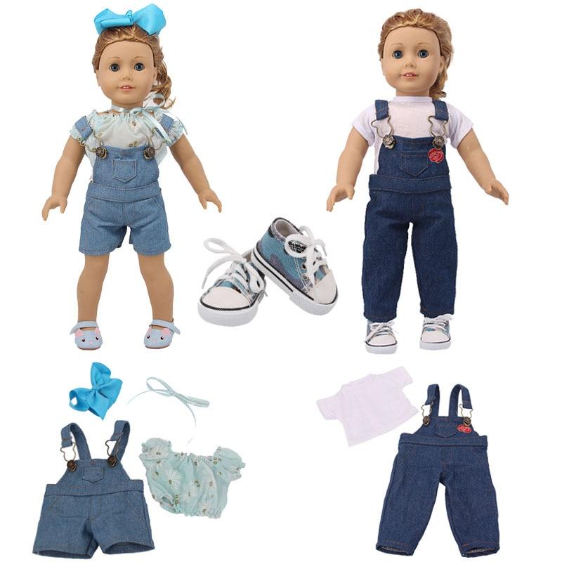 Puppe Kleidung Trend Nette Hosenträger, geeignet Für 18 Zoll American & 43Cm Baby Neue Geboren Puppe Kleidung Zubehör Mädchen Spielzeug