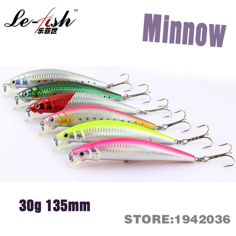 Le fish minnow artificial bait fishing lure hard plastic for Bulk fishing lures