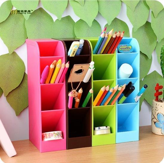 1PC Plastic Office Desktop Storage Box Stationery Pen Box Holder Cosmetics Makeup Organizer Remote Control Case Container LF 026