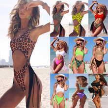 2019 Tassel One Piece Leopard Swimsuit String Sexy High Cut Bikini Push Up Swimwear Contrast Color Swim Suit Hollow Out Bathing