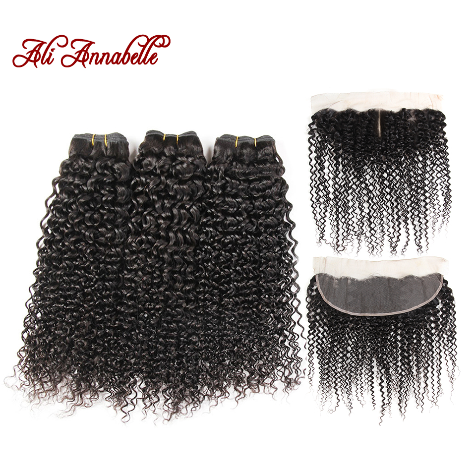 ALI ANNABELLE HAIR Human Hair Bundles With Closure 3 Bundles Malaysian Kinky Curly Lace Frontal Closure