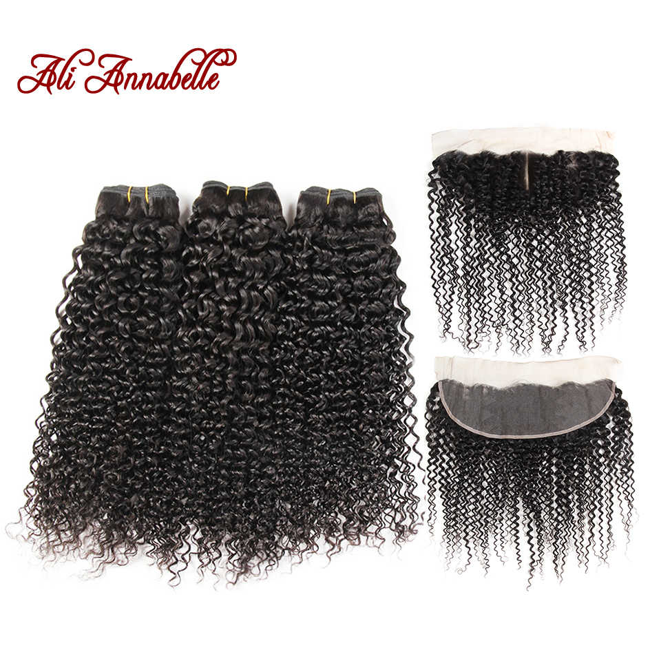 ALI ANNABELLE HAIR Human Hair Bundles With Closure 3 Bundles Malaysian Kinky Curly Lace Frontal Closure 100% Remy Hair Weave