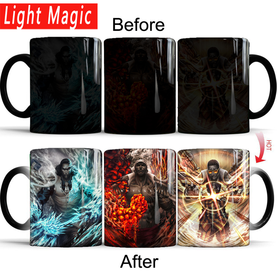 one piece luffy three Admiral kuzan akainu kizaru coffee cup color changing magic mug tea cups best gift for your friends