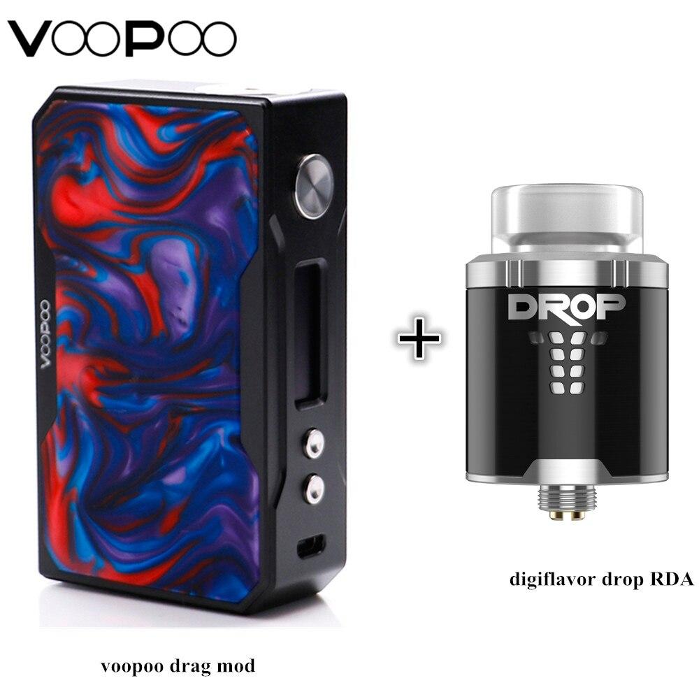 E-cigs Mod Voopoo Trascinare 157 w Mod Resina Versione (Telaio Nero) e Digiflavor Goccia RDA Sigaretta Elettronica kit Completo Best Atomizzatore
