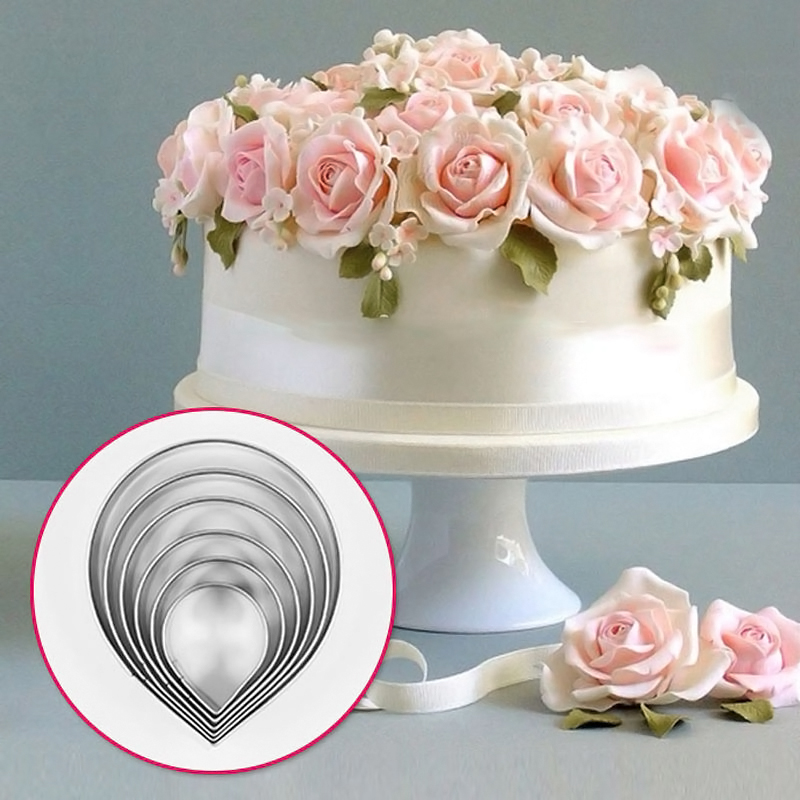 decorating a wedding cake with roses 6pcs kitchen baking tool fondant wedding decor water 13403