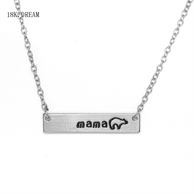 5338be148 Mama Bear Necklace Gift for Mom Bar Necklace Personalized Jewelry Rose Gold  Silver Engraved Mother Gift