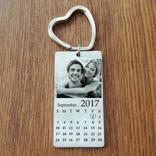 Naomy&ZP Stainless Steel Custom Photo Calendar KeyChain Engravable ID Dog Tag Charm Pendant Key Chain Cute Keyrings Dropshipping(China)