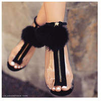 Summer Woman Pump Foreign Trade Sexy Fashion Plush Zipper Decoration Cinderella Transparent Glass With High Heels
