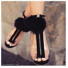 Лето Женщина насосы внешней торговли сексуальная мода Плюшевые молния украшения Золушка прозрачного стекла с высокими каблуками Peep Toe