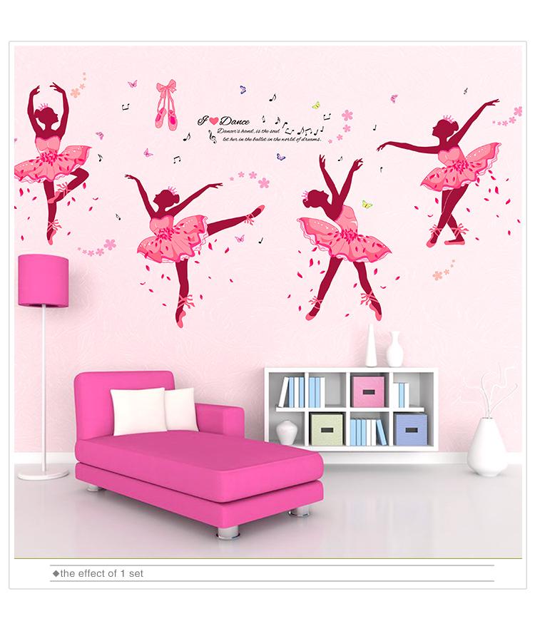 Shijuehezi Ballet Dancers Girl Wall Stickers Pvc Material Diy