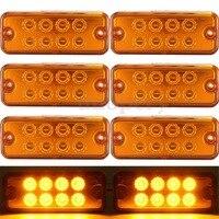 6pcs Amber Yellow 12V 8 LED Side Marker Light Lamp Truck Trailer Lorry Caravan Waterproof