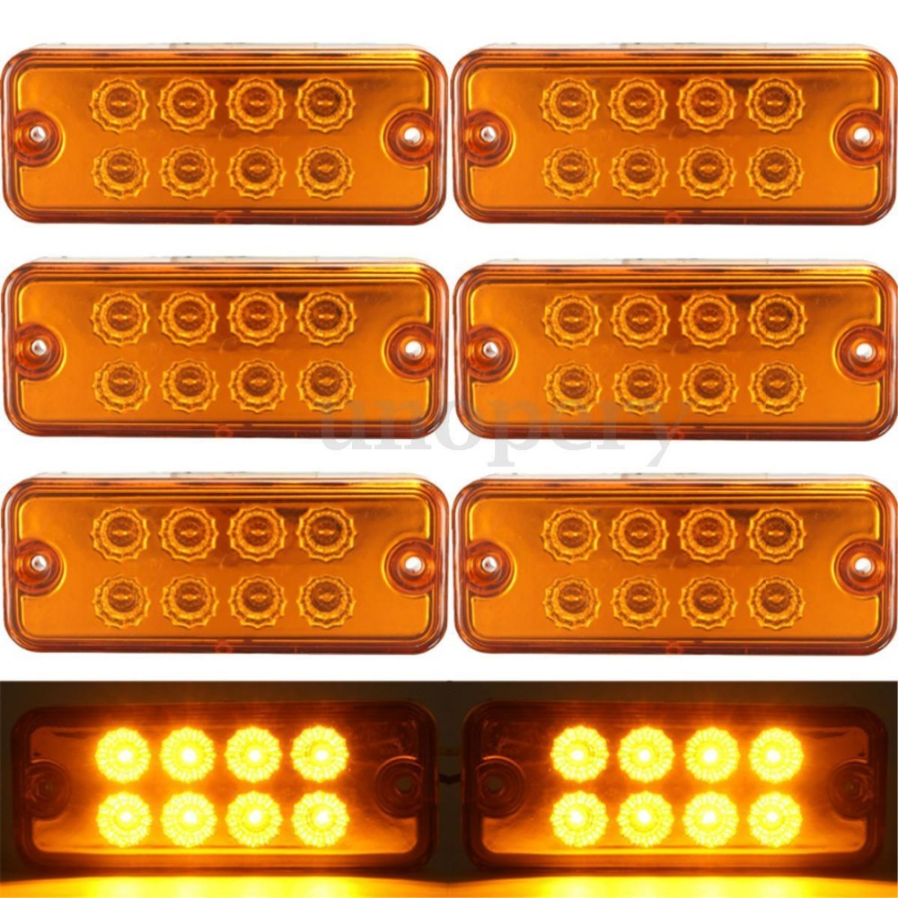 6pcs Amber Yellow 12V 8 LED Side Marker Light Lamp Truck Trailer Lorry Caravan Waterproof 24V