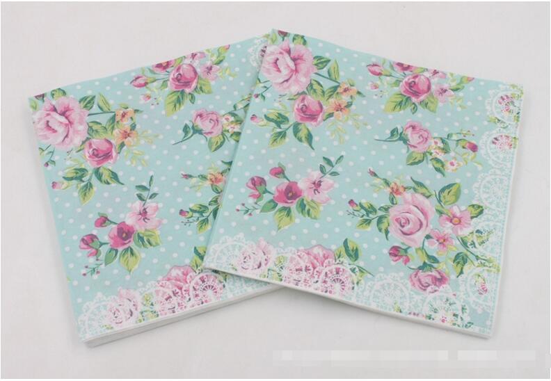 Beverage Paper Napkins Rose Green Event & Party Tissue Napkins Decoration Serviettes 33cm*33cm 20pcs/pack/lot