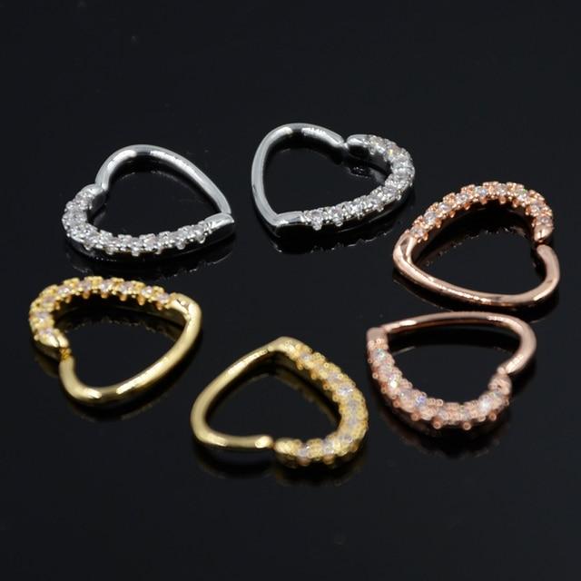 1 sztuka stal chirurgiczna mosiądz Opal Gem Daith serce okrągły zginalny ucho Tragus kolczyk na chrząstkę kolczyki do uszu Piercing biżuteria 16G 18G