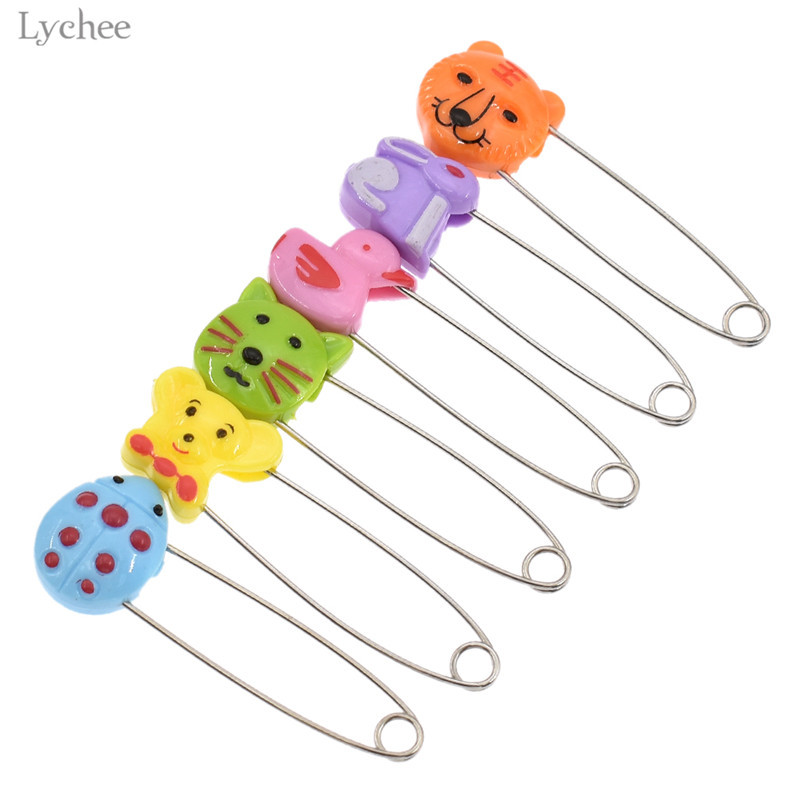 Lychee 6pcs Cartoon Animal Stainless Steel Safety Pins DIY Handmade Sewing Tools For Baby Kids Clothes Cute Lovely Sewing Crafts