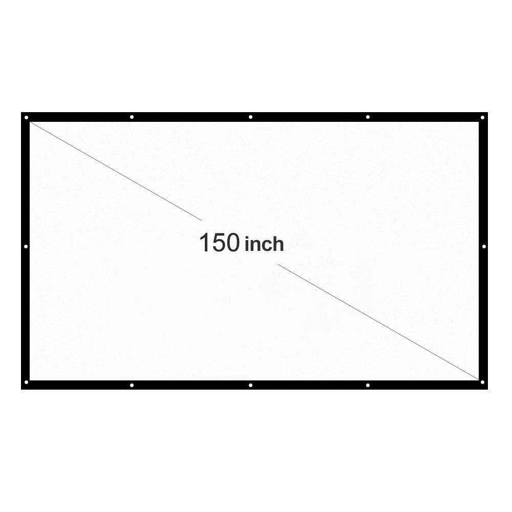 H150 150'' Portable Projector Screen HD 16:9 White 150