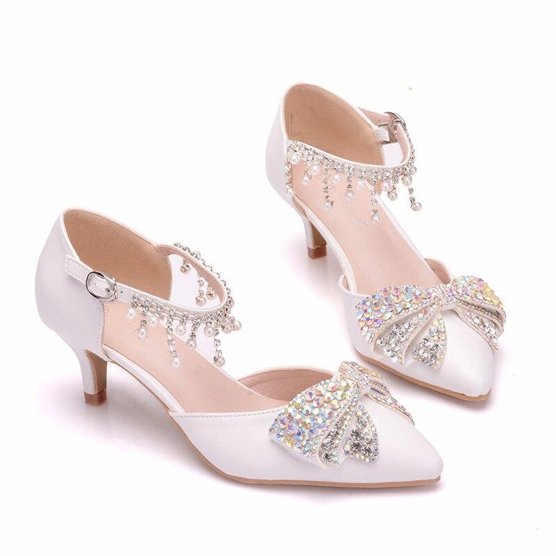 Pouces Talon Sandales De Dame Strass À Bal Mariage White 5cm Mode D'été Simples Bowtie Chaussures Parti Bout Faible Femmes Pointu Heels 2 B8xqXqpwO