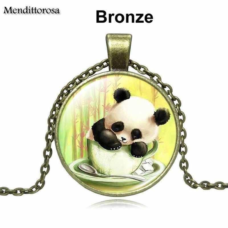 Mendittorosa Fashion Cabochon Hanger Ketting Voor Meisjes Handgemaakte Glazen Ketting Kerstcadeau Giant Panda Beer