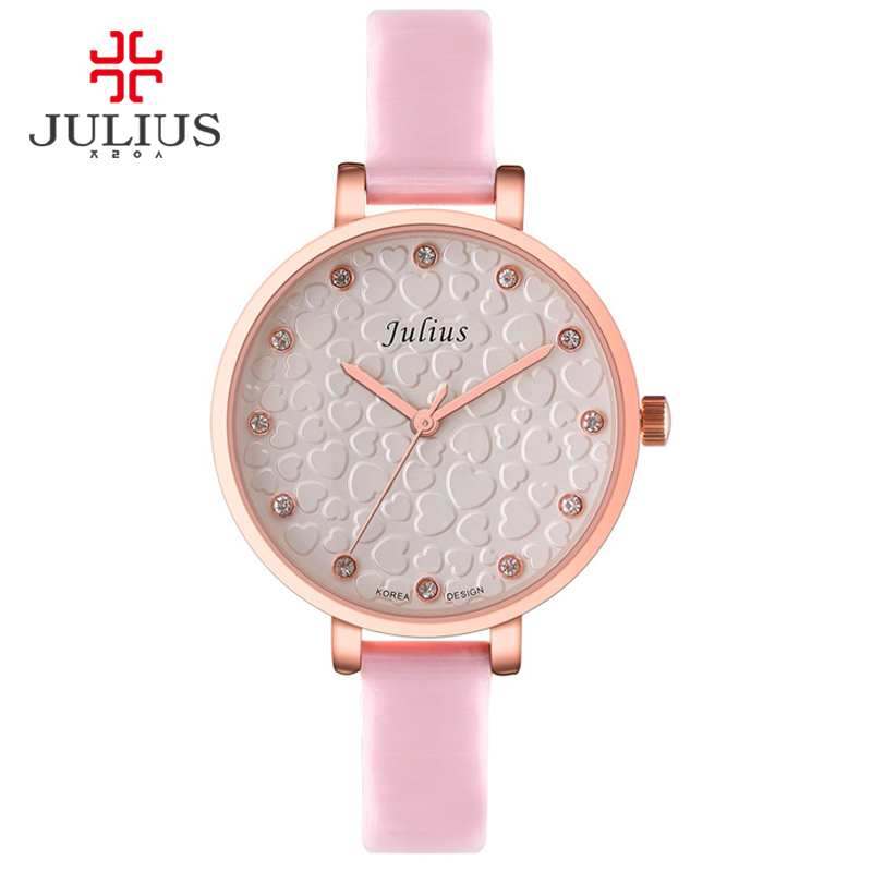 JULIUS JA-810 Ladies Watch With Heart For Young Girl Teenage Watches Silver Rose Gold Pink Whatch Geneva Quartz Wrist Watch Uhr цена и фото
