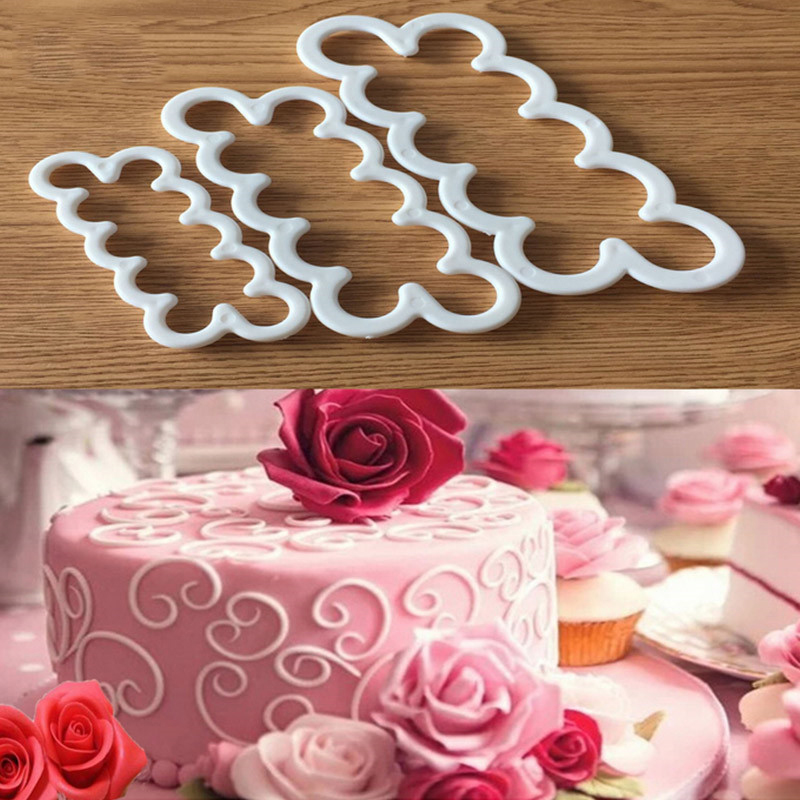 3pcs <font><b>Cake</b></font> Gumpaste Sugarcraft Easiest Rose Ever <font><b>cutter</b></font> Cookie <font><b>Cutter</b></font> Fondant <font><b>Decorating</b></font> <font><b>Tool</b></font> Rose <font><b>Flower</b></font> Mold Set image