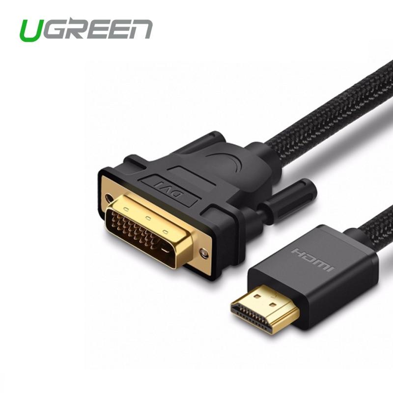 Ugreen HDMI para DVI DVI-D 24 + 1 pin Adapter 3D 4 K DVI Macho para Cabo HDMI Macho Converter para DVD LCD HDTV XBOX hdmi cabo de 2 m 3 m
