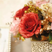 Wholesale wedding party gift silk rose bouquet decorative artificial flowers with vase for Christmas decorations home decoration