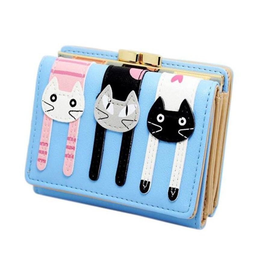 New Fashion Women Leather Wallet Cartoon Button Clutch Purse Lady Cute Short Handbag Bag New Brand High Quality Wallet Purses S