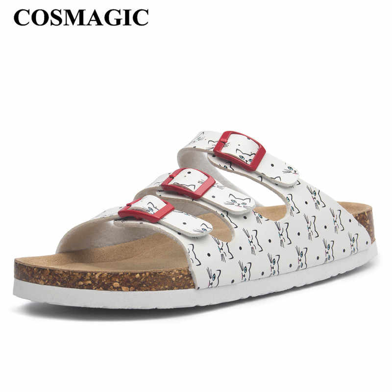 COSMAGIC New Summer Buckle Cork Slipper Women Flat with Shoes 2018 Casual  Mixed Color Beach Slides Flip Flops Plus Size