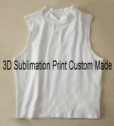52785f7ef Custom Made Create your own designs 3D Sublimation Print Milk Silk high  collar Crop Tops