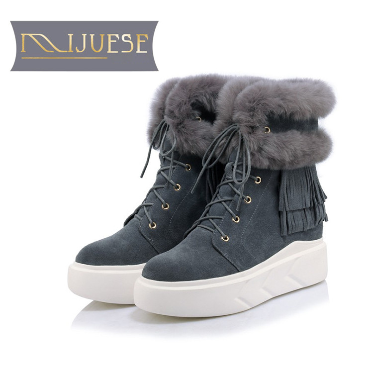 MLJUESE 2019 women Mid-calf boots cow Suede rabbit hair fringe winter warm short plush fur female flat boots snow boots наклейка на авто фолиант табличка парковочная с собачкой тпп 9