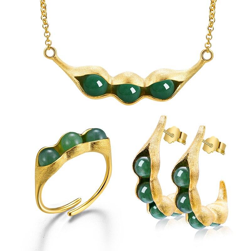 Lotus Fun réel 925 bijoux en argent Sterling pierres naturelles gousses de pois conception ensemble de bijoux avec anneau goutte boucle d'oreille collier