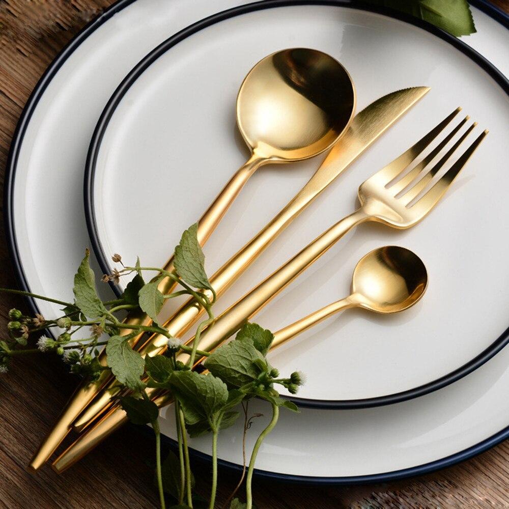 Heißer Verkauf 4 Teile/satz Reinem Gold europäischen Geschirr messer 304 Edelstahl Westlichen Besteck Küche Lebensmittel Geschirr Geschirr