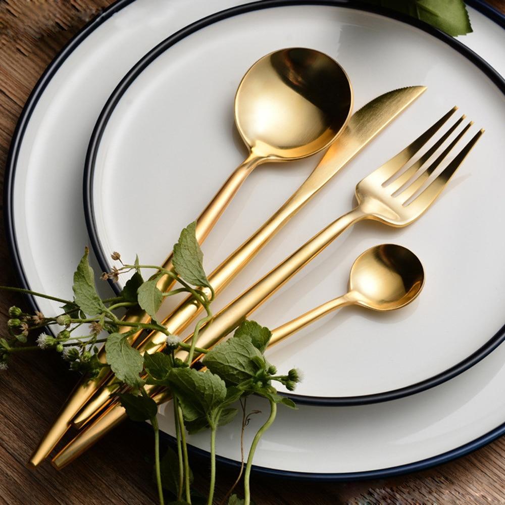 Hot Sale 4 Pcs Set Pure Gold European Dinnerware Knife 304