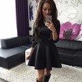 Донна Новый Женщины Платье Мода О-Образным Вырезом Повседневная Летние Платья сексуальное Миниое Платье Черный Серый Красный Леди Работа в Офисе Платья L228Z