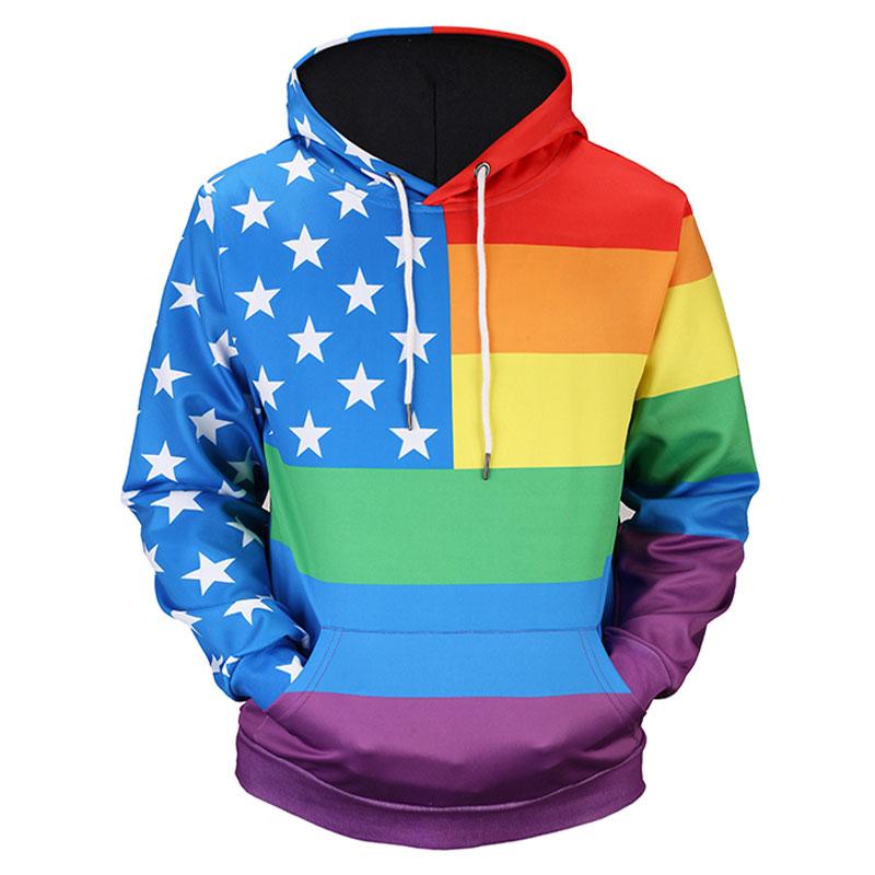 Headbook Colorful Striped USA Flag Hoodies Women/Men 3d Sweatshirts Unisex Pullovers Hooded Hoodies Hoody Tops 17090204