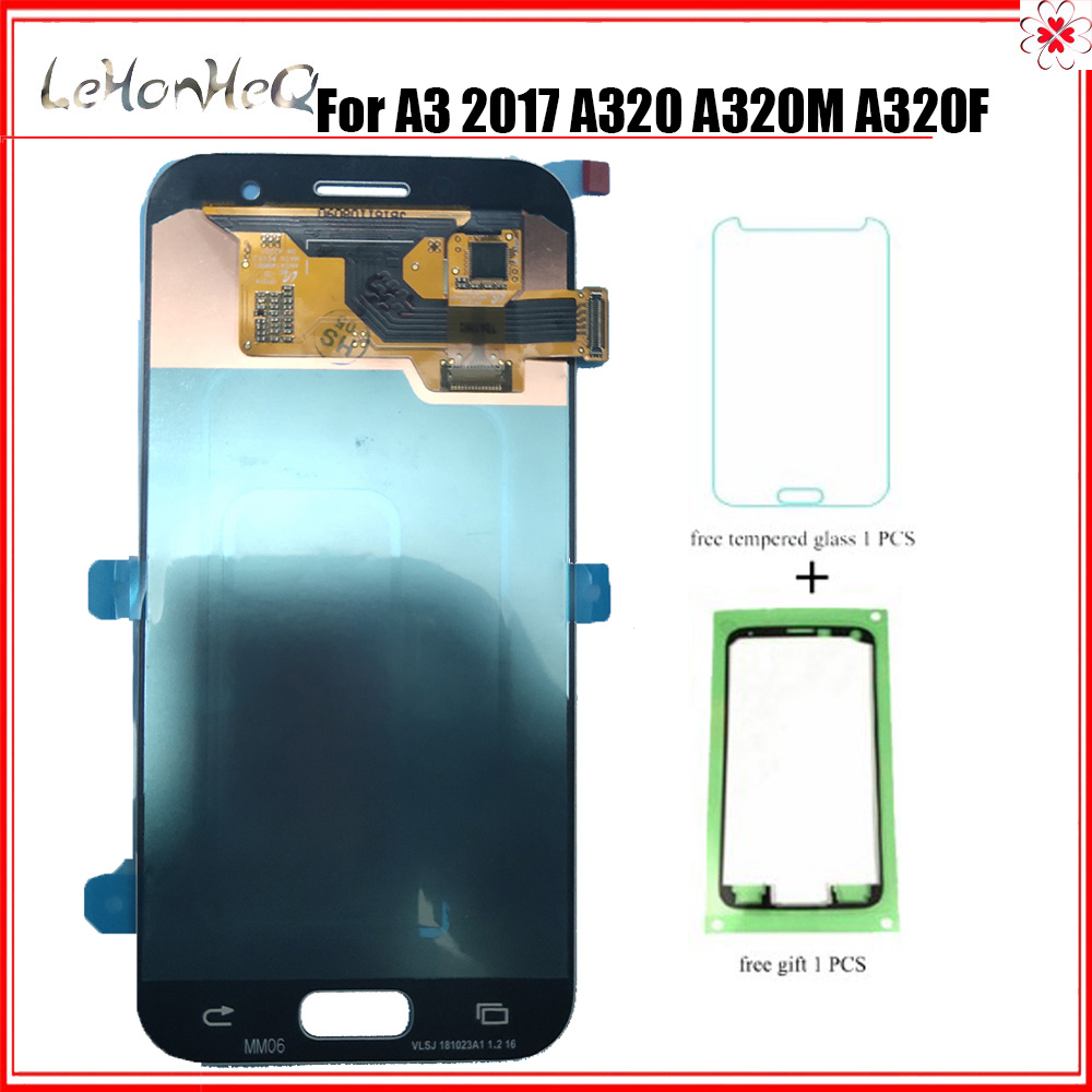 Super <font><b>AMOLED</b></font> For Samsung Galaxy A3 2017 <font><b>A320</b></font> A320F A320FL A320Y LCD Display Touch Screen Digitizer Assembly For Samsung <font><b>A320</b></font> LCD image