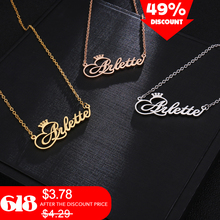Personalized Name Crown Necklace Handmade Customized Cursive Font Nameplate Pendant Necklace Stainless Steel Chain Jewelry