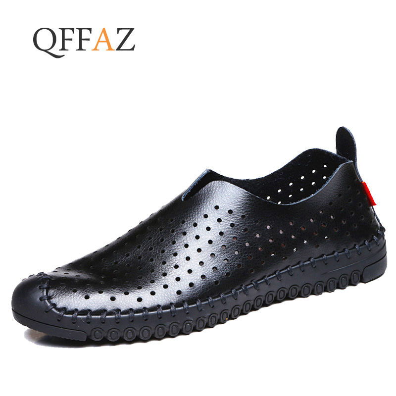 50911814754cd QFFAZ Men Sandals Genuine Leather Gladiator Soft Causal Shoes Summer  Outdoor Men Beach Shoes image