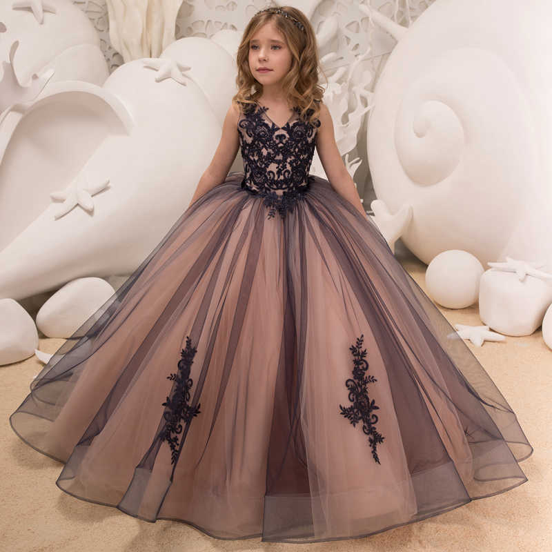 0949b2aa4a9 New Hot Girls Tulle Sleeveless Double V-neck Lace Appliques Ball Gowns Flower  Girl Dresses