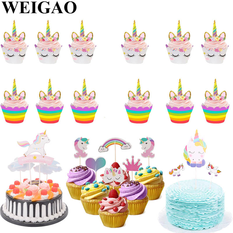 Weigao Unicorn Birthday Party Cake Toppers Cupcake Wrapper Baby